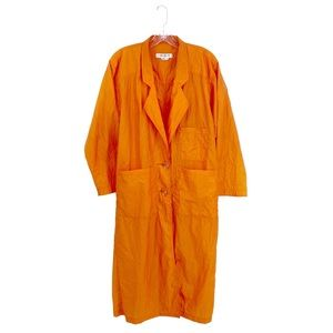 Vintage I.MAGNIN Bright Orange Nylon Trench Coat